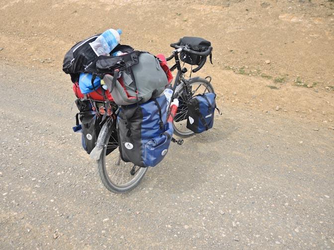 Packed bike. Food for one week.