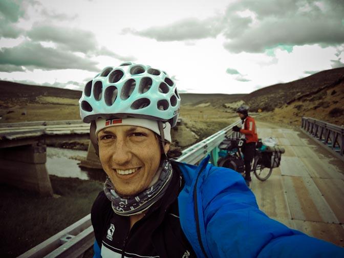 Bridge selfie, Dave in the Background.