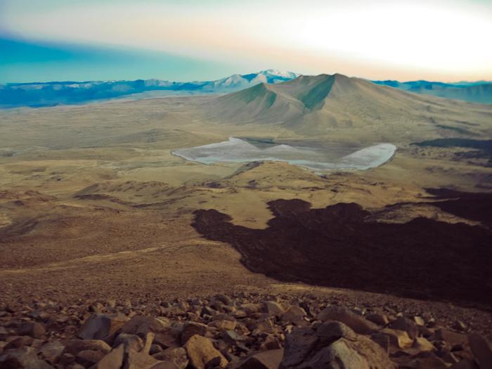 Pünktlich zum Sonnenaufgang auf dem Vulkan Trommen