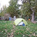 Zelten im Garten kurz vor Mendoza.